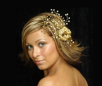 Headpiece - Style Sally - Gold rose with incrusted pearl and gold hand painted beads.