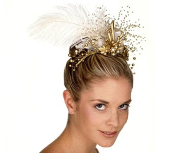 Tiara - style - Grace - Gold & ivory pearl beads with large ivory feather & gold leaf spray.