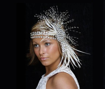 Headpiece - style Latissa - Large diamanté crystals with silver spray & ivory feathers.